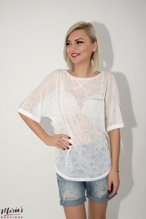 Bluză albă accesorizată cu mărgeluțe argintii - mărimile S, M, L