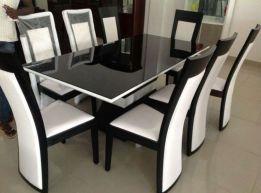 Mesa de jantar de vidro de 6 lugares