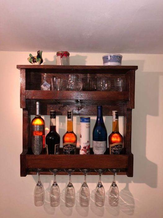 Raft sticle vin, lichior, whiskey + pahare