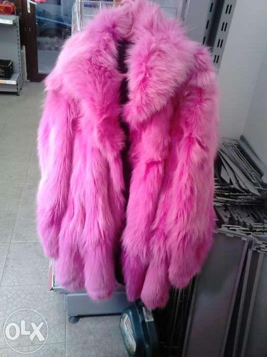 Haina roz din blana de vulpe