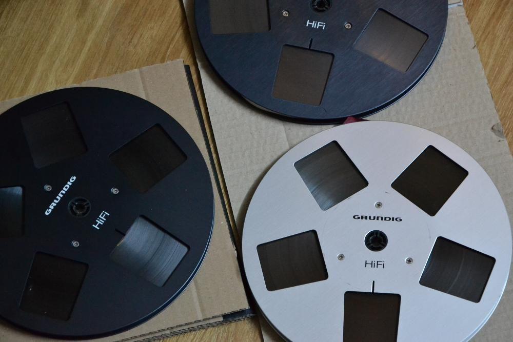 Banda magnetofon GRUNDIG metal 22cm-silver/black- akai,teac,braun,asc