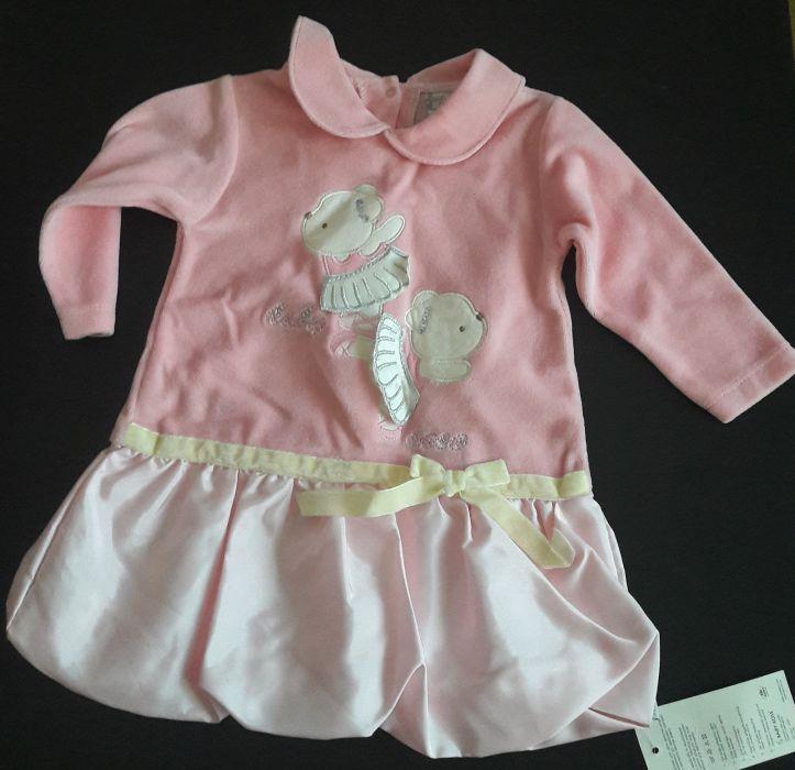 Rochie roz, Baby Rose, 74 cm, 8-9 luni, NOUA