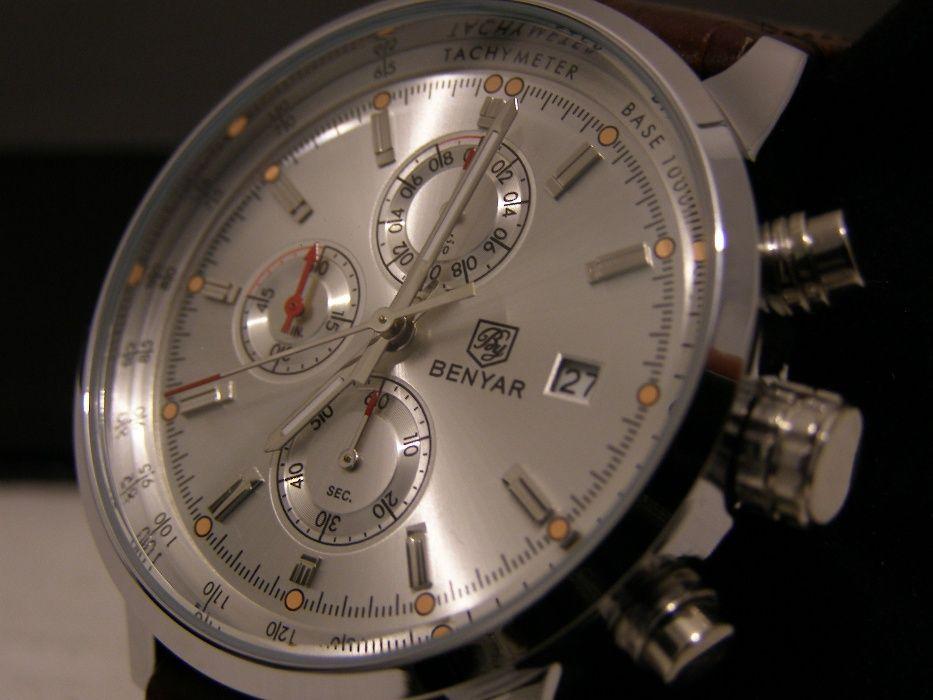 ceas de mana barbatesc cronograf quartz Benyar nou curea din piele