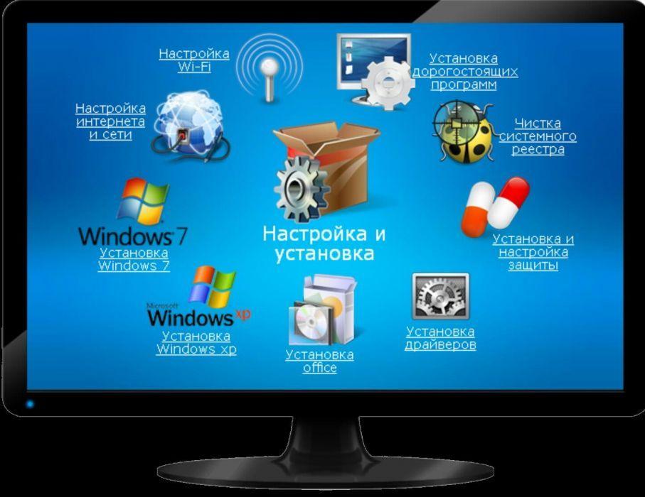 Услуги программиста: виндоус, антивирус, офис и т.д.