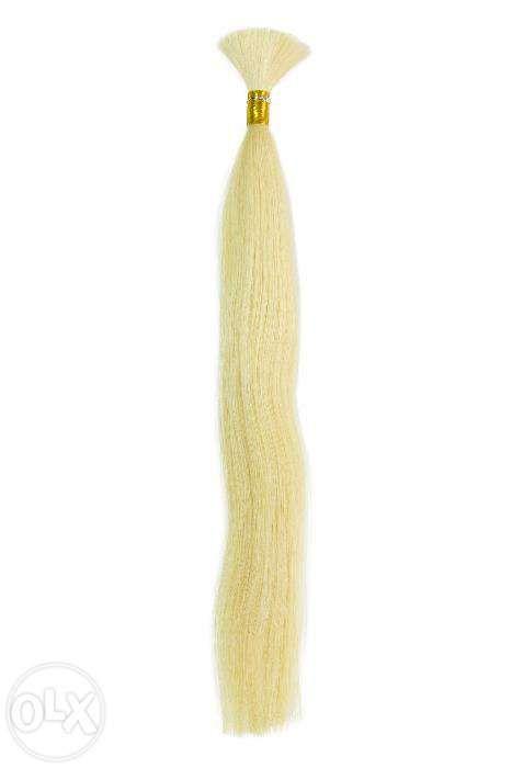 Натуральные БЛОНД волосы в срезе для наращивания 60 см (#613)