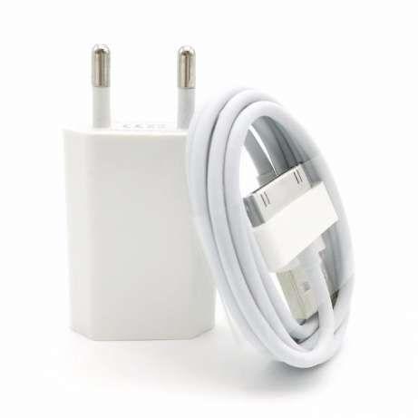Incarcator Iphone 4 4S Priza si Cablu de Date Nou