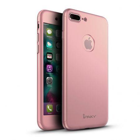 Husa iPaky cu protectie 360º pentru iPhone 7 Plus ROSE GOLD cu folie d