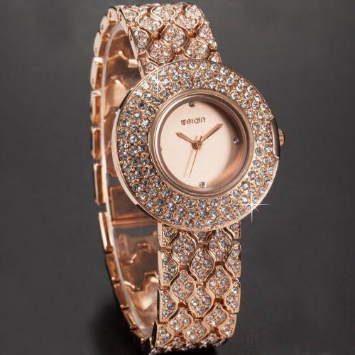 Ceas Valentines suflat cu aur roz si cristale elegant dama