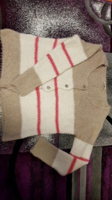 Pulover/ cardigan / bluza pufos bej cu alb, L (XL), NOU