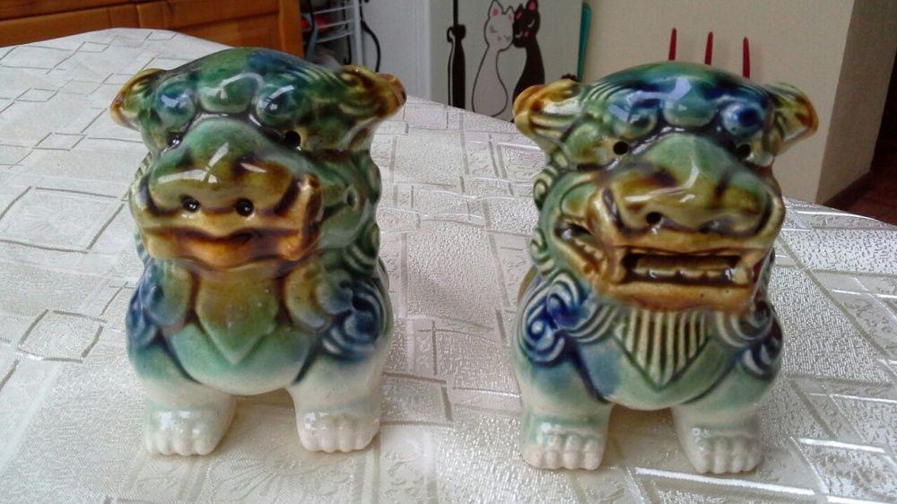 Pereche de câini Foo, ceramica glazurata, pentru protecția casei