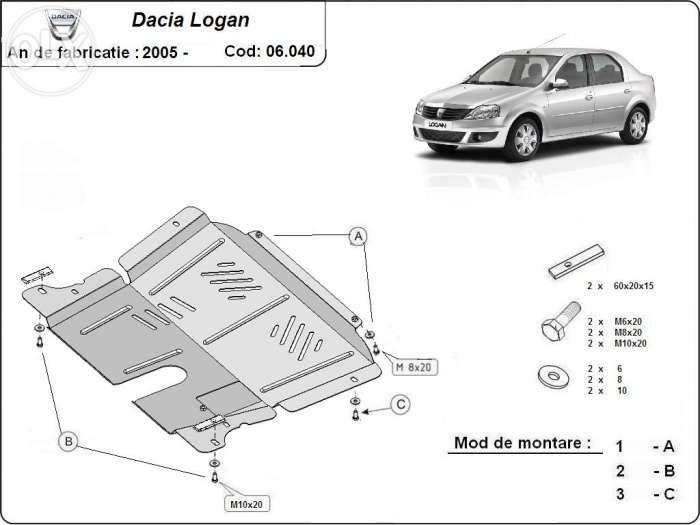 Scut metalic pentru motor Dacia Logan 2004-2013 - otel 2mm