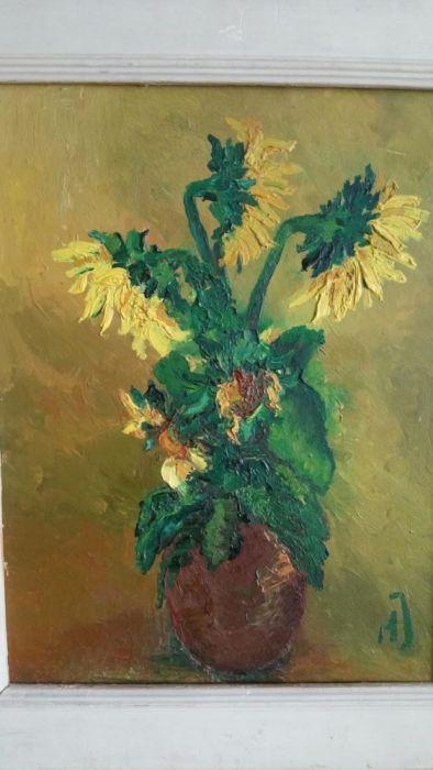 Tablou floarea soarelui pe pinza in ulei