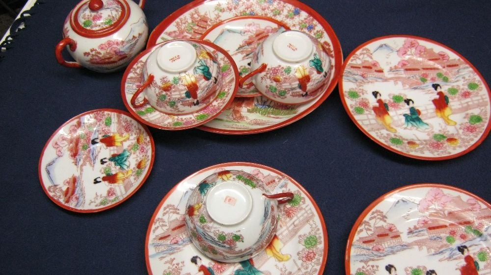 Lot portelan vechi,japonez,set de 3,ceainic,