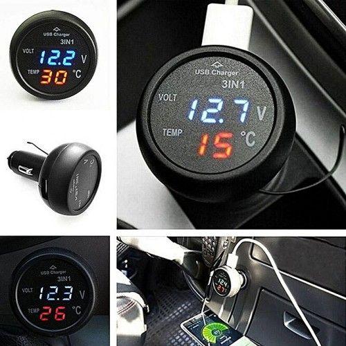 Дигитално устройство за кола 4в1 термометър, волтметър и зарядно