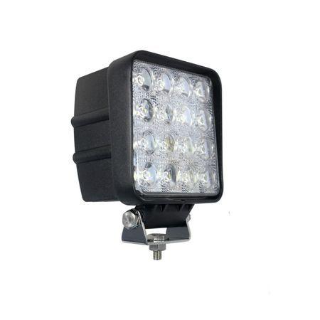 Proiector LED auto offroad 48W 12V-24V, 3900 lumeni, patrat, spot beam