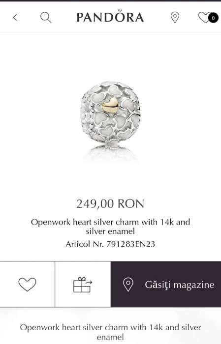 """Vand talisman Charm Pandora Argint cu Aur 14k """"Inimi """" original"""