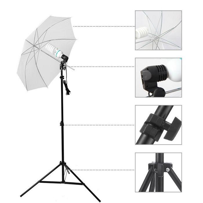 Kit lumini videochat cu un bec si umbrela tip softbox difuzie 83cm