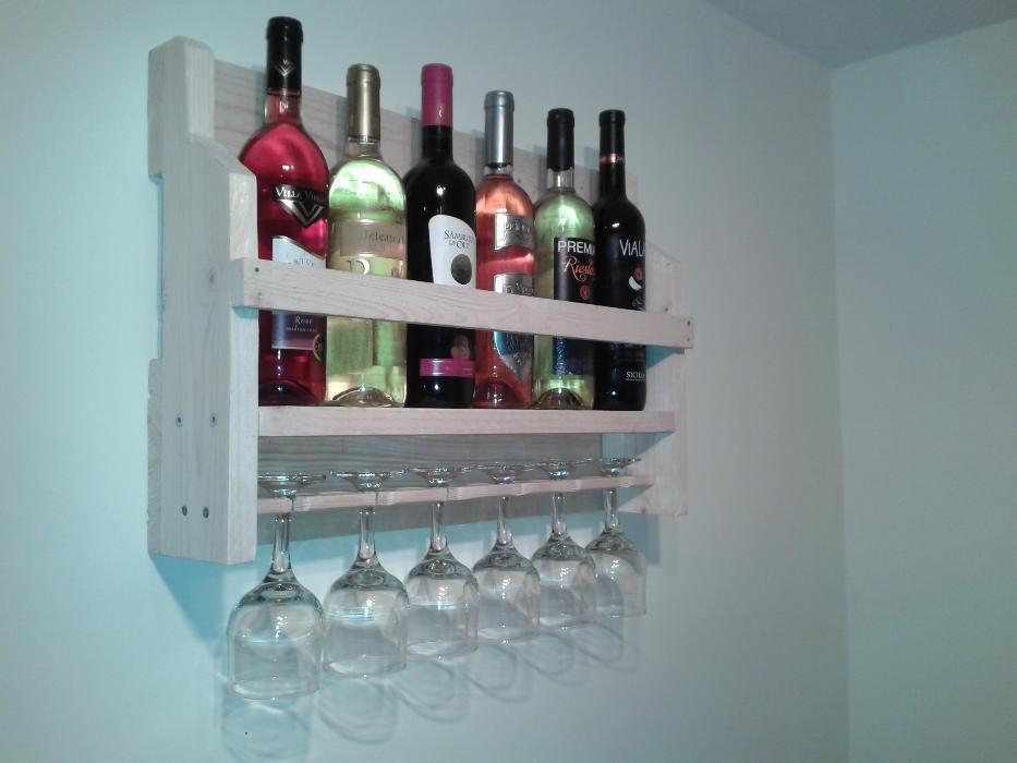 Suport raft elegant de perete pt 6 sticle vin 0,75 lt 1 lt si 6 pahare