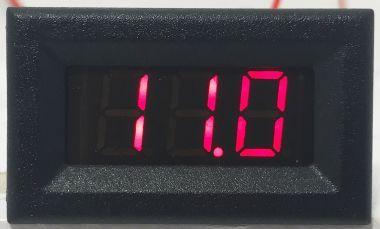 Voltmetru, Af., Dig., Cu LED-Uri, 3 Dig., 0 - 100V, C. Continuu, Rosu