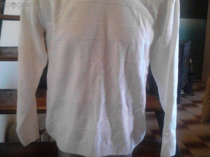 Бял мъжки пуловер размери: М и L