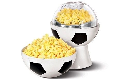 Aparat popcorn in forma de minge de fotbal cu capac detasabil
