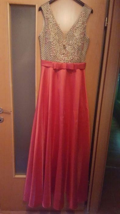 Rochie rosie/auriu lunga