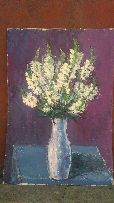 """Maria Franculescu (1922-2010),""""Flori"""",u/c,tablou superb cu ramă, geam"""