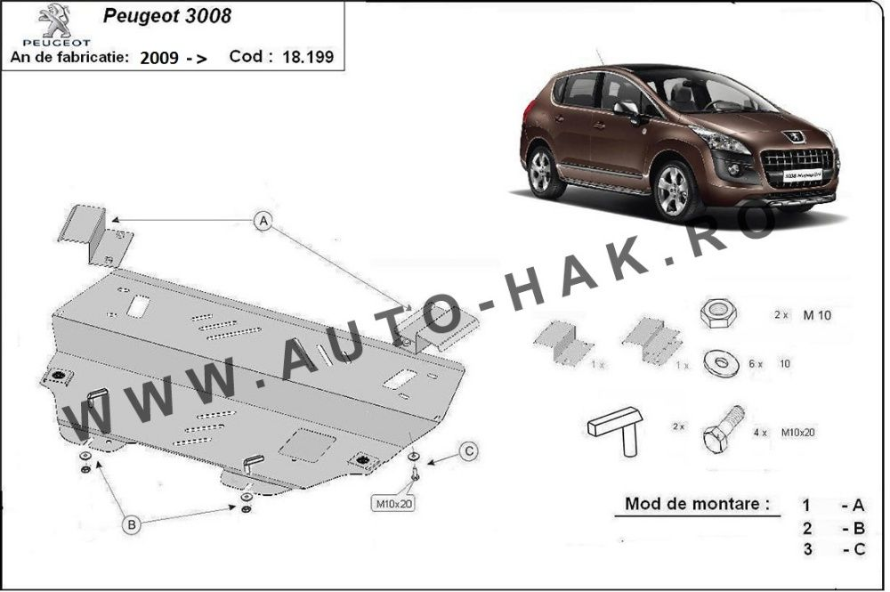 Scut motor metalic Peugeot 3008 2009-prezent - otel 2mm