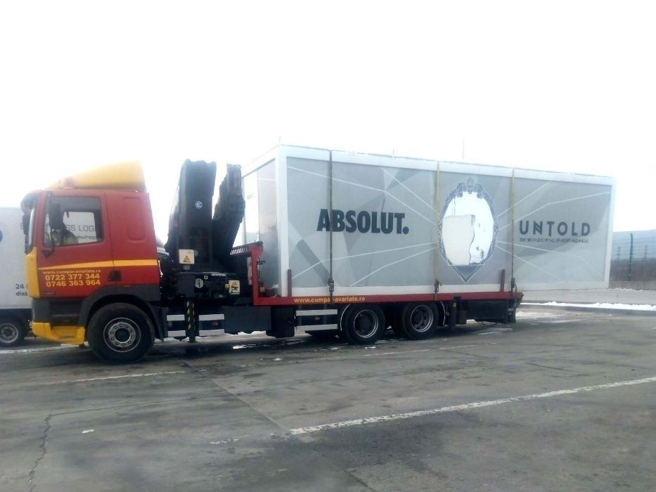 Transport, relocare container birou, maritim, camion macara