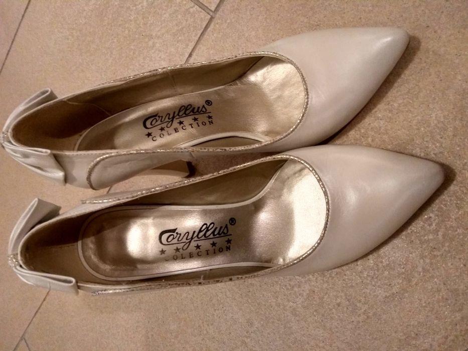 Pantofi mireasa albi sidefati de piele 37