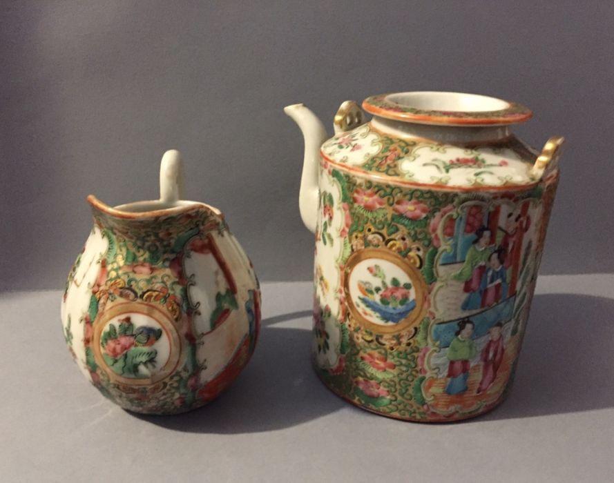 Portelan China secolul XIX ceainic si letiera rare dimensiuni mari
