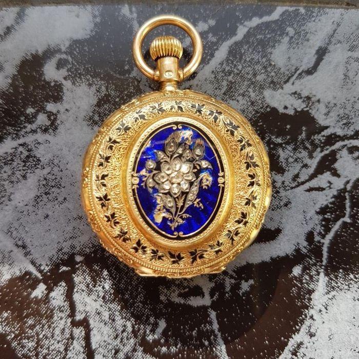 Superb Vintage Aur ceas.de.buzunar cu diamante
