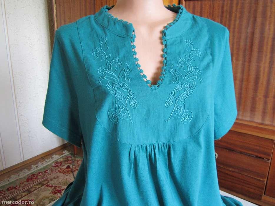 Noua -Bluza eleganta, turcoaz, brodata 100% bumbac + bonus.