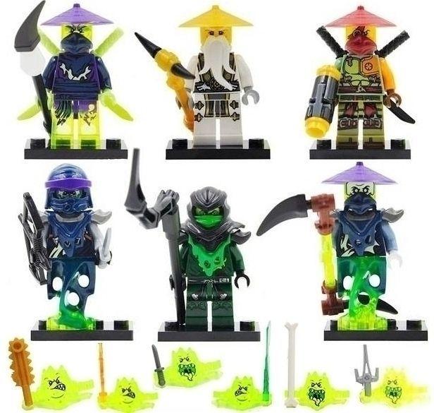 Set cu 6 Minifigurine tip Lego Ninjago sezonul 5 cu Morro si Master Wu