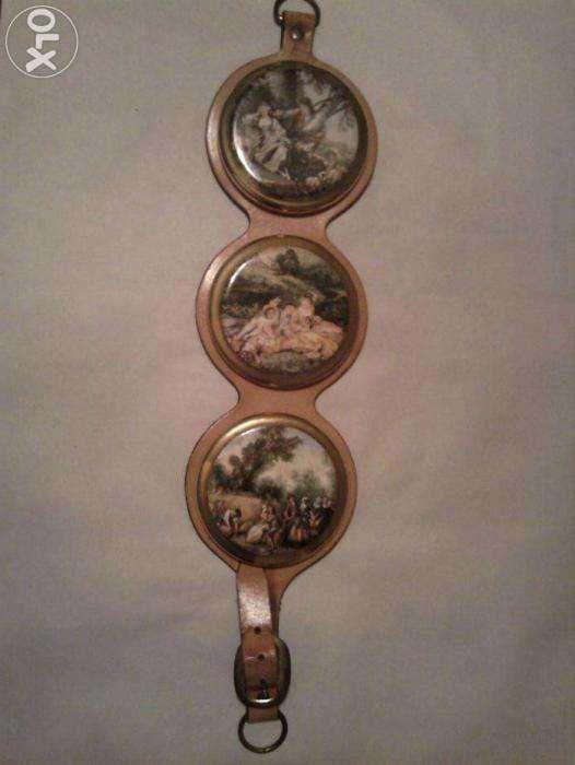 Set vintage 3 medalioane ceramica contur aur coloidal Anglia