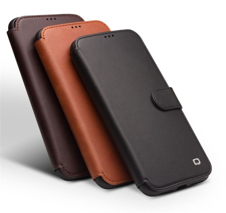 Husa piele naturala Qialino, iPHONE XR, magnetica, protectie full 360