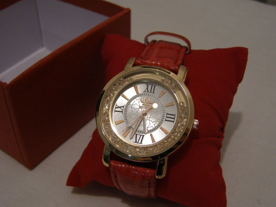 ceas de dama quartz Rhinestone nou rosu