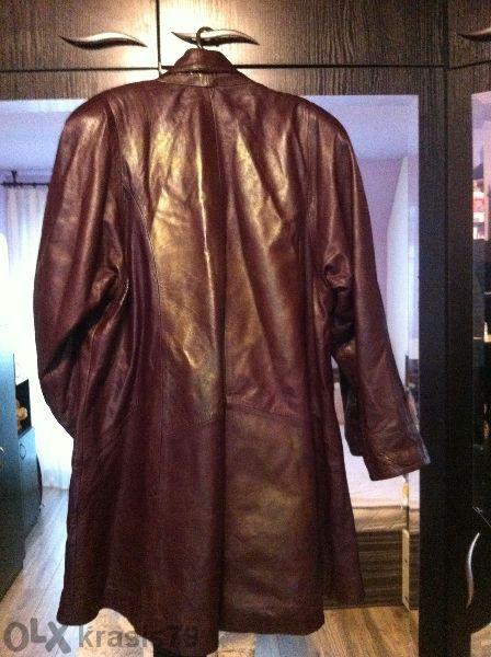 Страхотно кожено дамско палто - пелерина