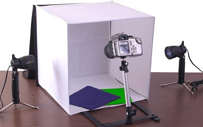 Kit cort fotografie 50cm x 50cm + suport camera foto + 2 x Lampa Tungs