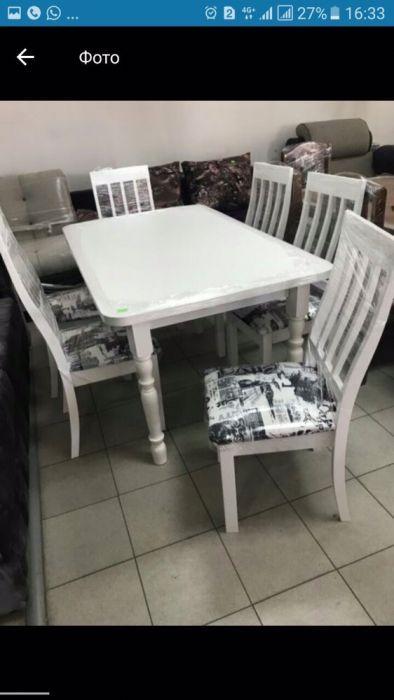 Стол и стулья для кухни цена 65000 тг