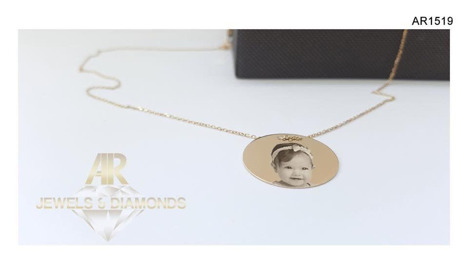 Lantisor Aur 14 K personalizat cu poza sau textul tau (AR1519)