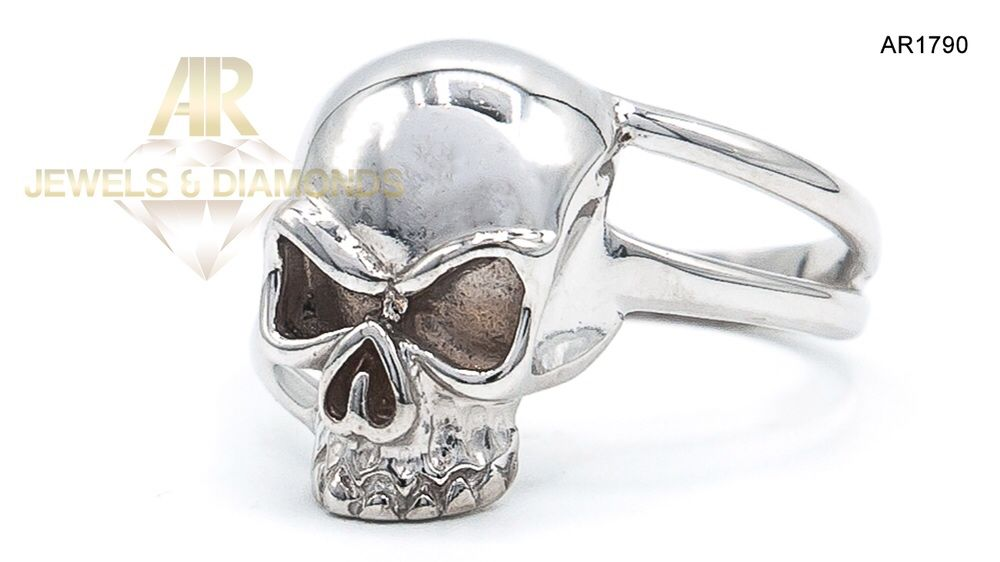 Inel Aur Alb unisex Skull Collection ARJEWELS