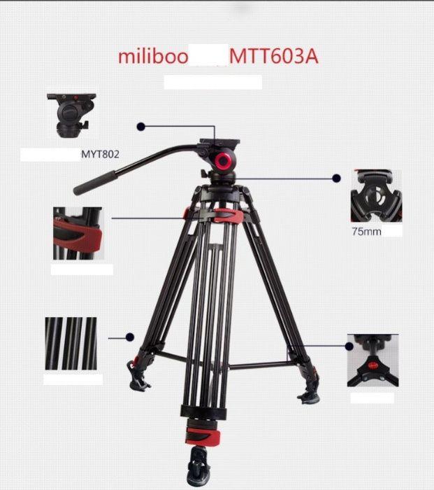 Trepied video Miliboo MTT603A din aluminiu + cap fluid MYT802, 170cm