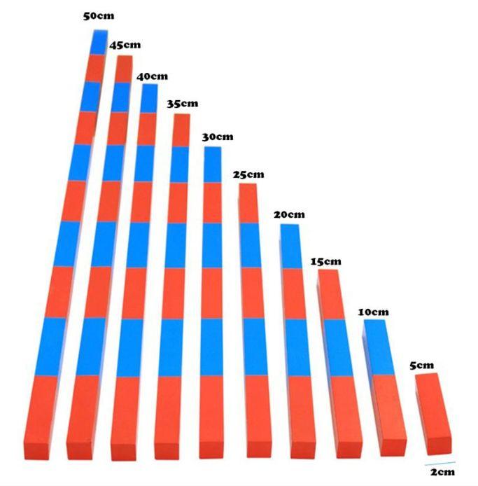 Монтесори Дървени Числови Летви синьо-червени пръчки стикове