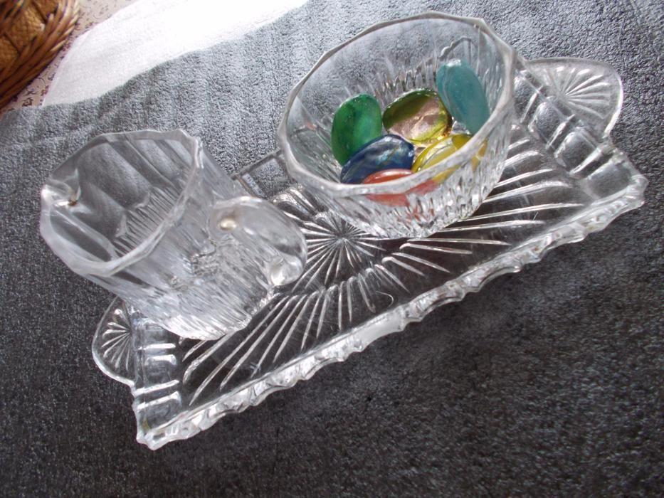ocazie,set cristal bohemia,f.vechi,cu6pietre semipretioase,supercadou