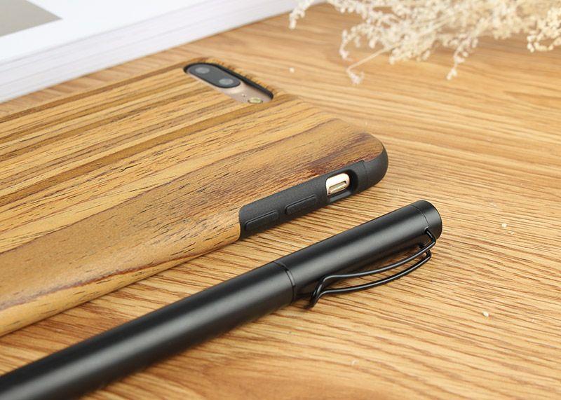 Дървен кейс от естествено дърво и каучук за iPhone 5, SE, 6, 7, 7Plus,