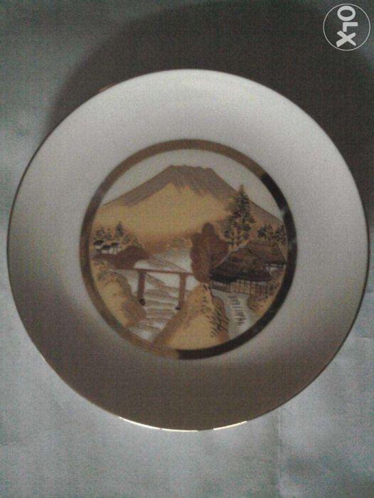 Farfurii vaza cu aur coloidal peisaj pasari stil precum Chokin Japonia