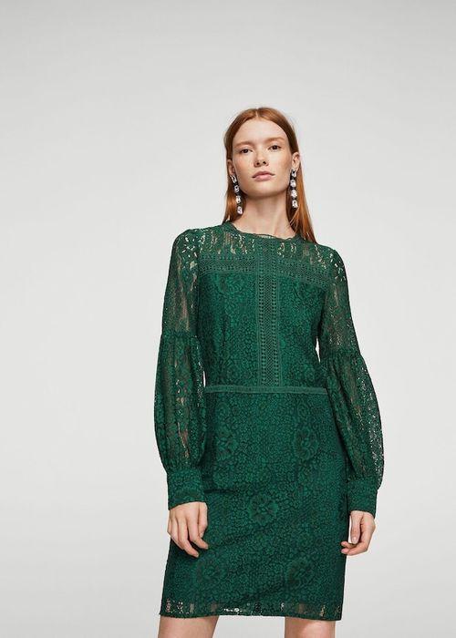 Rochie dantela-guipure, verde smarald, Mango Suit, mar. M