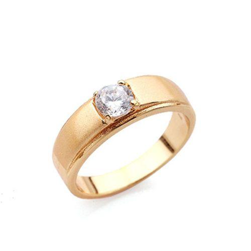 GR150,inel placat aur 18k, model unisex, zircon alb fatetat