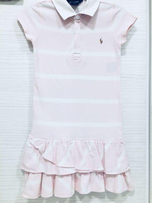 Rochie copii Polo Ralph Lauren alb cu roz, 5-6-7 ani